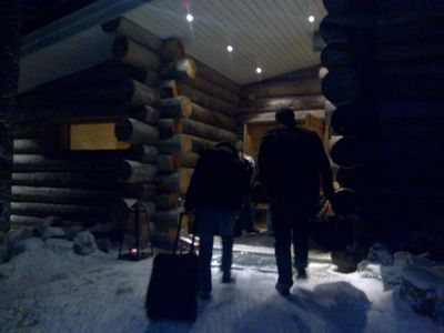 Arriving at cabin